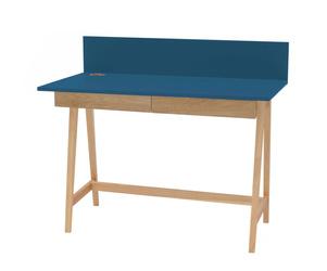 LUKA Ashwood Writing Desk 110x50cm with Drawer / Petrol Blue