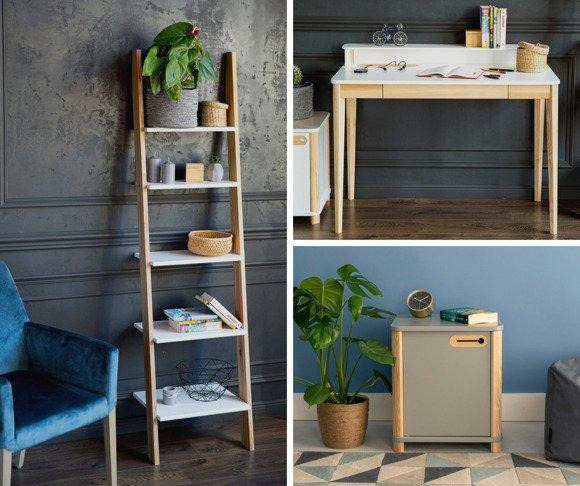 ASHME Set: Writing Desk + Ladder Shelf + Cabinet