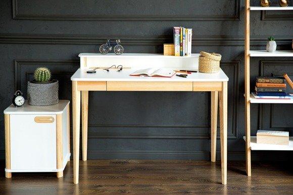 ASHME Writing Desk W 110 x D 56 x H 75cm - Ashwood/White