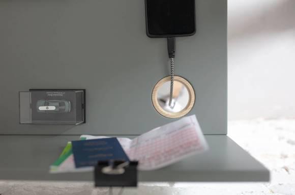 LUKA Ashwood Writing Desk 65x50cm with Drawer / Light Grey