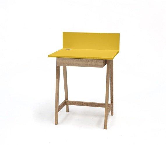 LUKA Ashwood Writing Desk 65x50cm with Drawer / Yellow