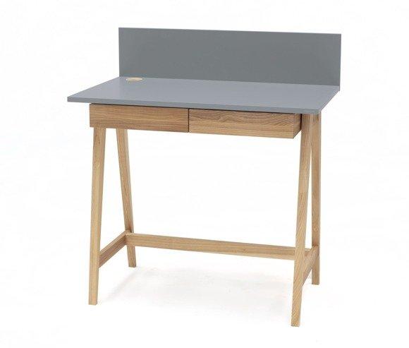 LUKA Ashwood Writing Desk 85x50cm with Drawer / Dark Grey