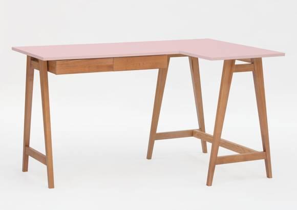 LUKA Corner Desk W 135cm x D 85cm / Dusky Pink Oak Right Side