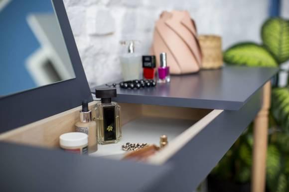 MAMO Dressing Table with Mirror – 65x35cm Black Legs / Mint