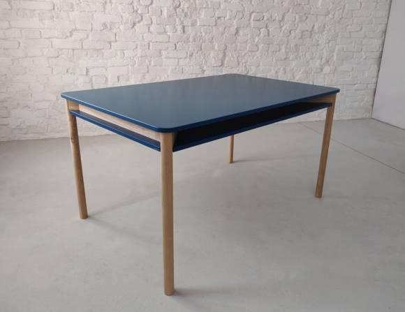 ZEEN Dining Table with Shelf 140x90x78cm Ashwood Petrol Blue