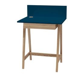 Luka Eschenholz Schreibtisch 65x50cm mit Schublade / Petrol Blue