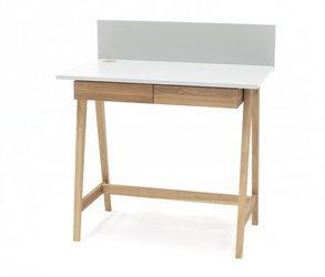 Luka Eschenholz Schreibtisch 85x50cm mit Schublade / Weiß