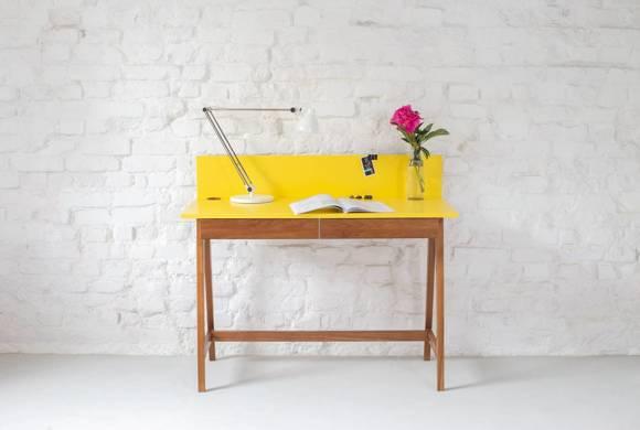 LUKA Schreibtisch 110x50cm mit Schublade Eiche / Dunkelgrau