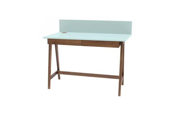 LUKA Schreibtisch 110x50cm mit Schublade Eiche / Helles Türkis