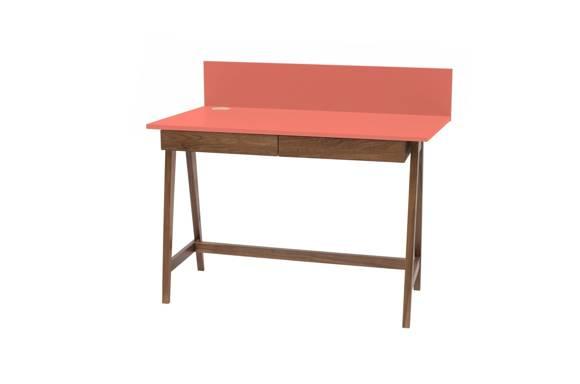LUKA Schreibtisch 110x50cm mit Schublade Eiche / Koralle
