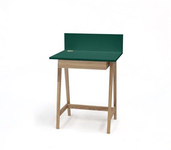 Luka Eschenholz Schreibtisch 65x50cm mit Schublade / Flaschengrün