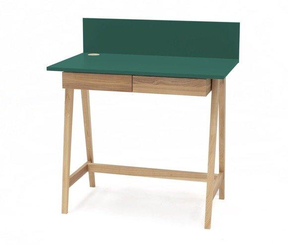 Luka Eschenholz Schreibtisch 85x50cm mit Schublade / Flaschengrün