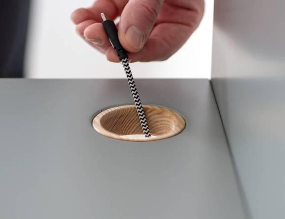 Luka Schreibtisch 65x50cm Eiche / Rot