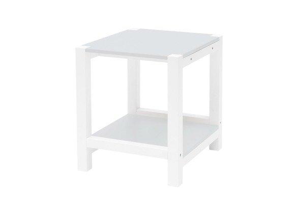 TRIVENTI Nachttisch Schemel - Hellgrau / Weiße Beine