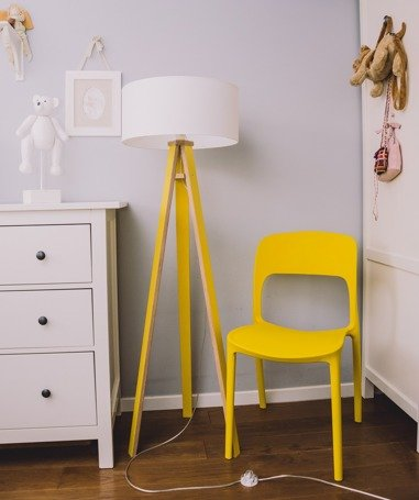 WANDA Stehlampe 45x140cm - Gelb / Weiß Lampenschirm